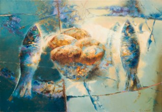 Five Loaves and Two Fish. Oil on canvas. 2007